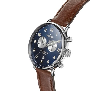 Canfield Chrono 43mm, Dark Cognac Leather Strap