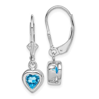 Sterling Silver Rhodium 6mm Heart Blue Topaz Leverback Earrings
