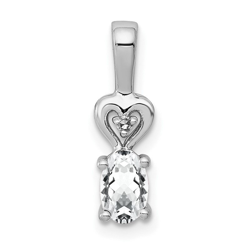 Quality Gold Sterling Silver Rhodium-plated White Topaz & Diam. Pendant