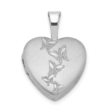 Sterling Silver Rhodium-plated Butterflies 12mm Heart Locket