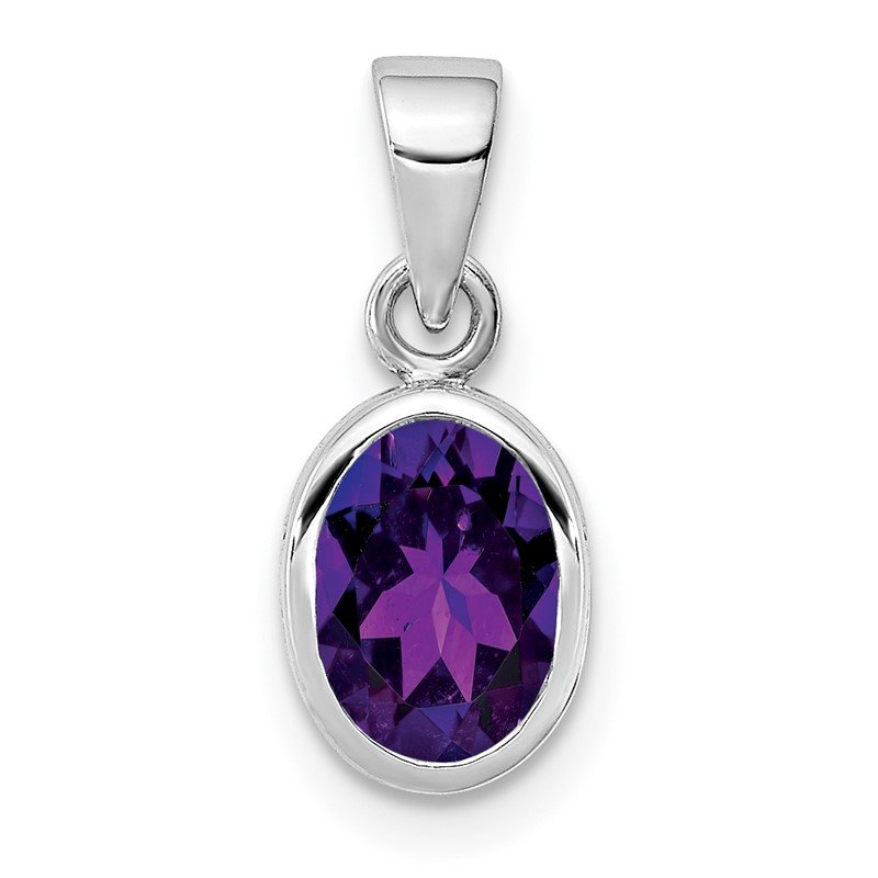 Quality Gold Sterling Silver Rhodium-plated Polished Amethyst Oval Pendant