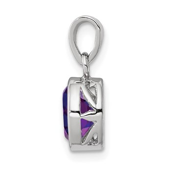 Sterling Silver Rhodium-plated Polished Amethyst Oval Pendant