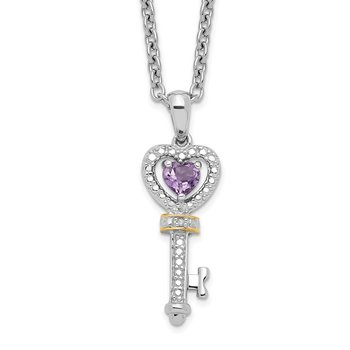 SS and 14k Accent Amethyst and Diamond Key 18inch Necklace
