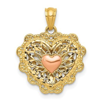 14K Two-tone w/White Rhodium Polish Reversible Filigree Heart Pendant