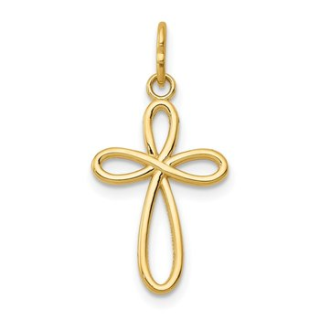 14k Gold Polished Small Ribbon Cross Pendant