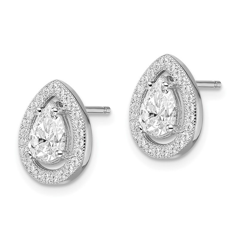 Quality Gold SS Rhodium-Plated CZ Brilliant Embers Teardrop Post Earrings
