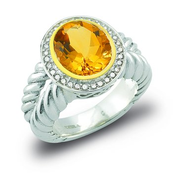 Sterling Silver and 14K Citrine Ring