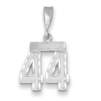 14k White Gold Small Diamond-cut Number 44 Charm