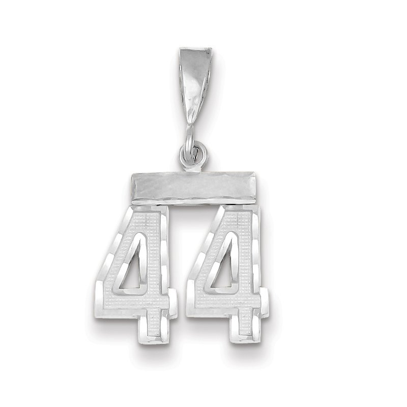 Quality Gold 14k White Gold Small Diamond-cut Number 44 Charm