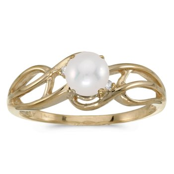 14k Yellow Gold Freshwater Cultured Pearl And Diamond Curve Ring
