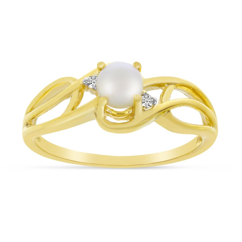 Color Merchants 14k Yellow Gold Freshwater Cultured Pearl And Diamond Curve Ring