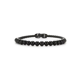 Single Row Black Cable & Black Onyx Bracelet