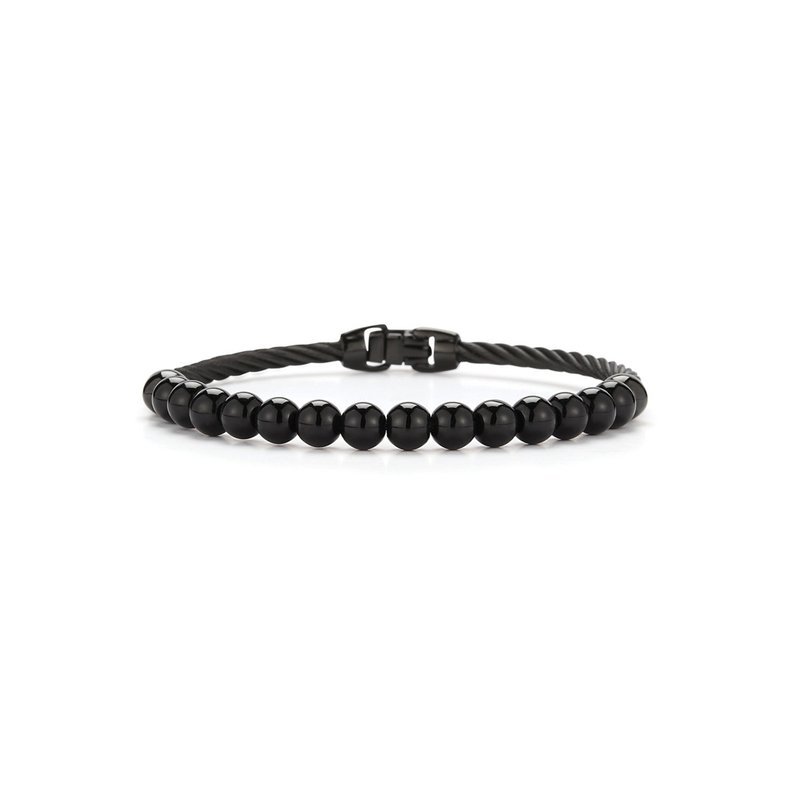 ALOR Single Row Black Cable & Black Onyx Bracelet