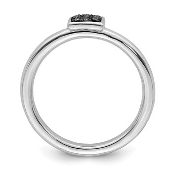 Sterling Silver Rhodium Black Diam. Ring