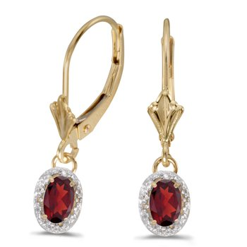 10k Yellow Gold Oval Garnet And Diamond Leverback Earrings