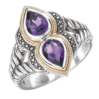 18K/SILVER WITH AMETHYST      DOUBLE PEAR DESIGN RING SZ-7