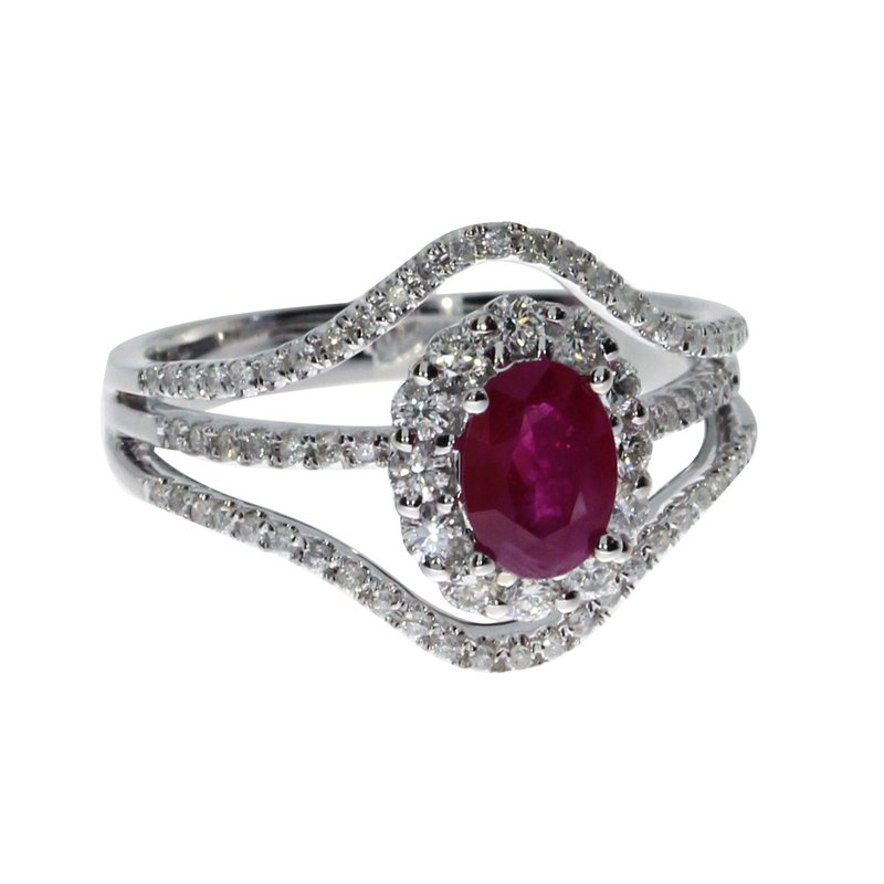 Color Merchants 14k White Gold Ruby and Diamond Halo Ring