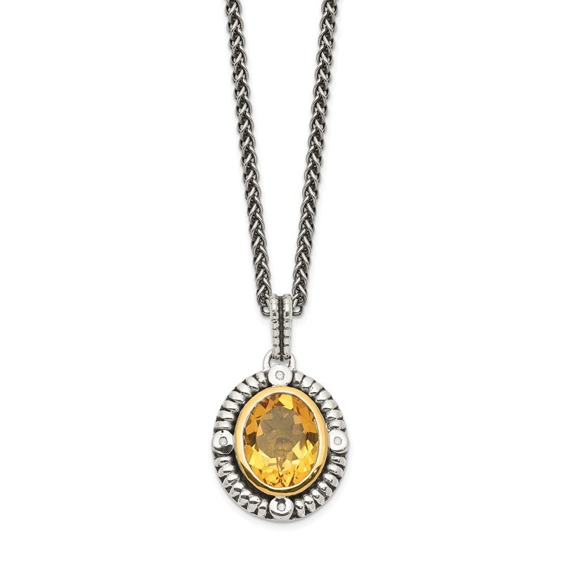 Quality Gold Sterling Silver w/14k Citrine & Diamond Necklace