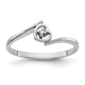 14k White Gold AA Diamond heart ring