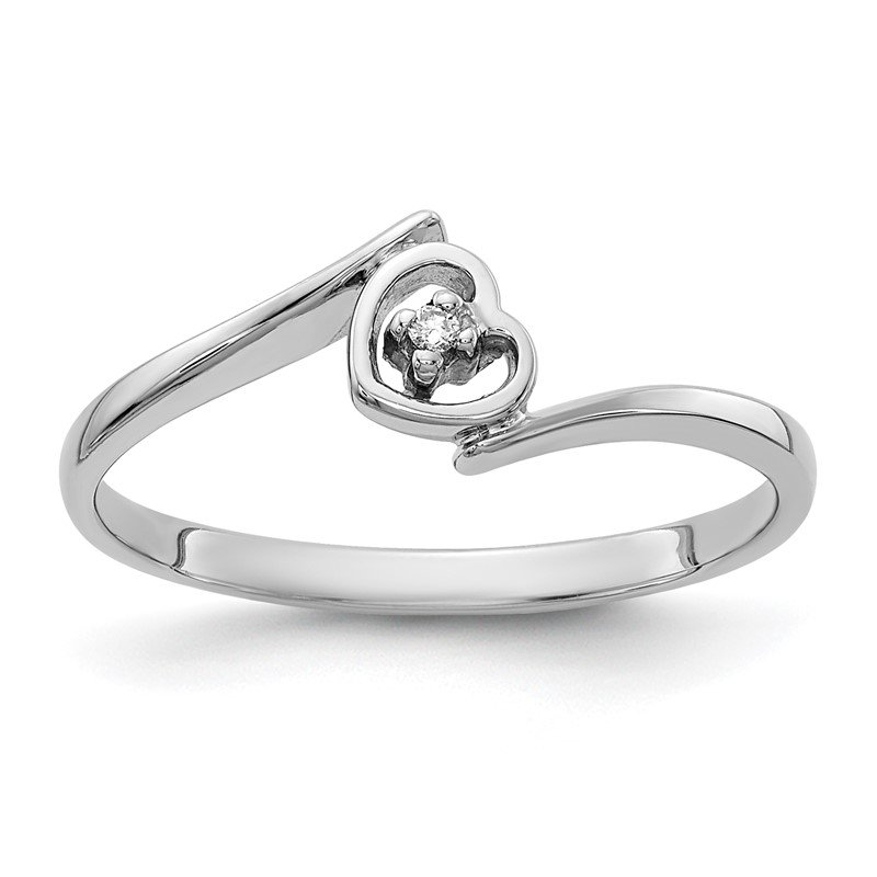 Quality Gold 14k White Gold AA Diamond heart ring