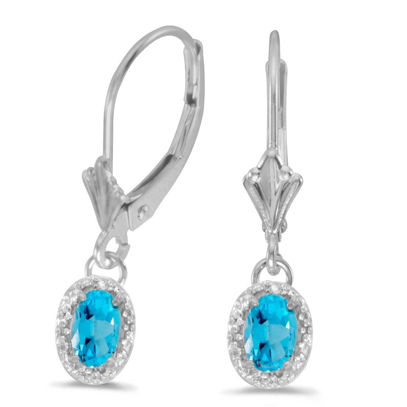 Color Merchants 10k White Gold Oval Blue Topaz And Diamond Leverback Earrings