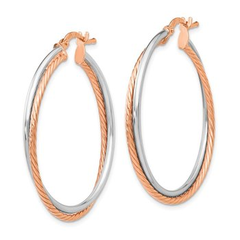 Leslie's Sterling Silver Rose Gold-plated Hinged Hoop Earrings