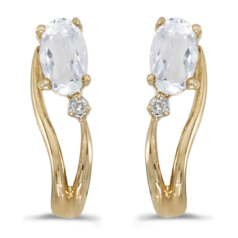 Color Merchants 14k Yellow Gold Oval White Topaz And Diamond Wave Earrings