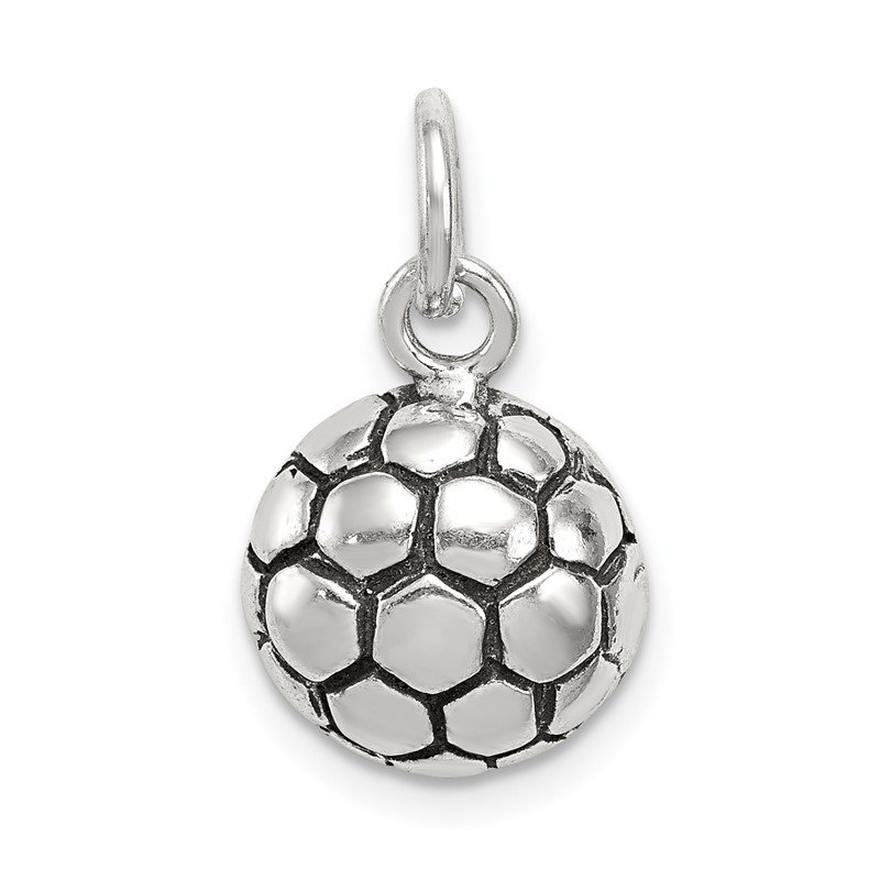 Quality Gold Sterling Silver Antiqued Soccer Ball Charm