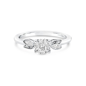 Floral Leaf Diamond Engagement Ring