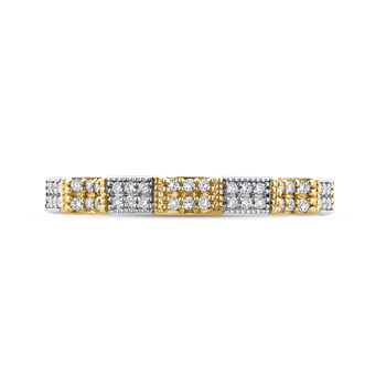 18K Two-Tone Gold Round Diamond Eternity Wedding Band