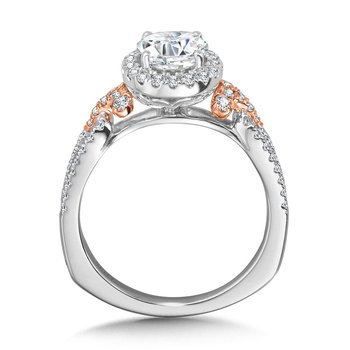 Dual-Tone Split Shank Halo Engagement Ring