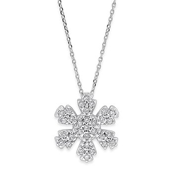 Diamond Snowflake Necklace in 14k White Gold with 31 Diamonds weighing .31ct tw.