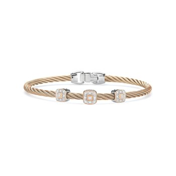 Carnation Cable Essential Stackable Bracelet with Triple Square Diamond Station set in 18kt Rose Gold