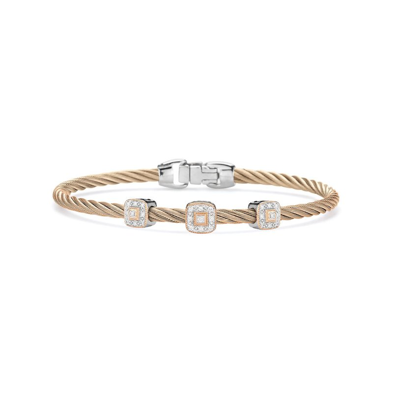 ALOR Carnation Cable Essential Stackable Bracelet with Triple Square Diamond Station set in 18kt Rose Gold