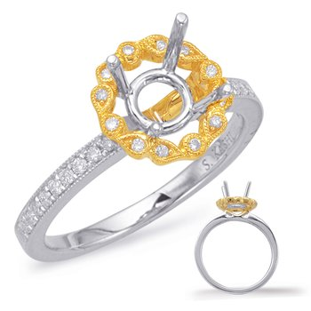 Yellow & White Halo Engagement Ring
