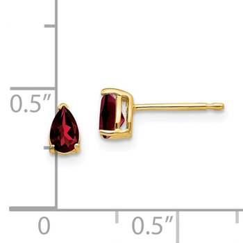 14k 5x3mm Pear Garnet Earrings
