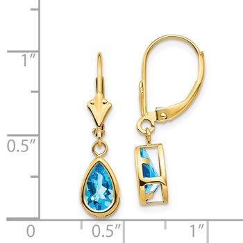 14k 8x5mm Pear Blue Topaz Leverback Earrings