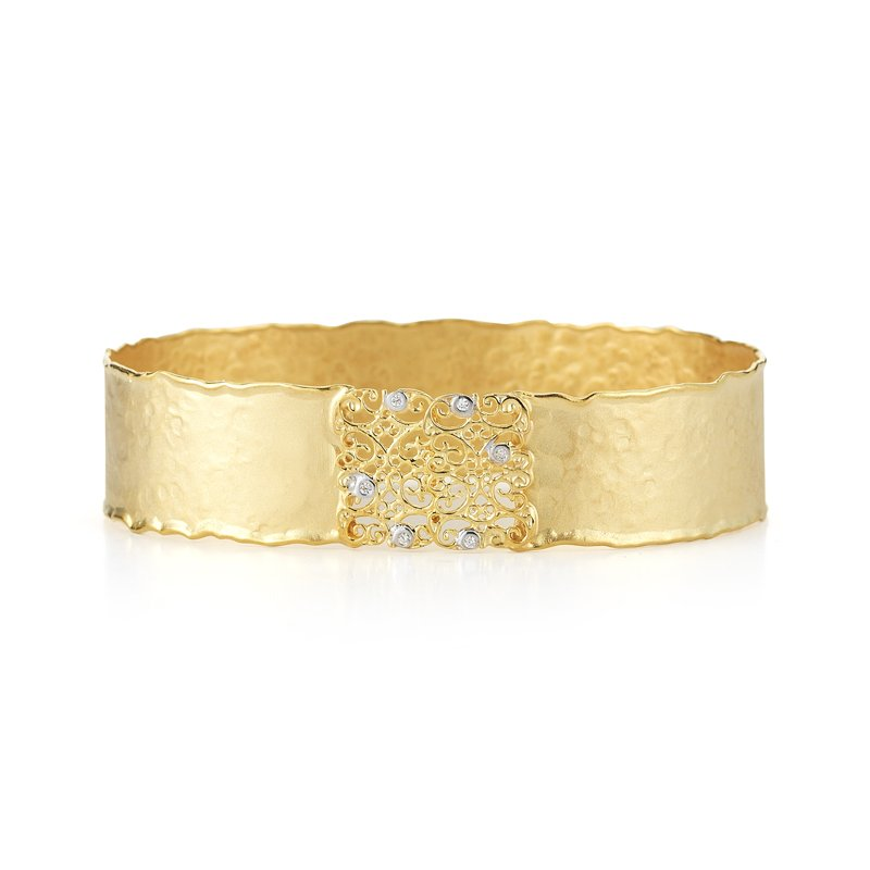 Vivid Jewelers 14K-Y FILIGREE CUFF BR. 0.05CT