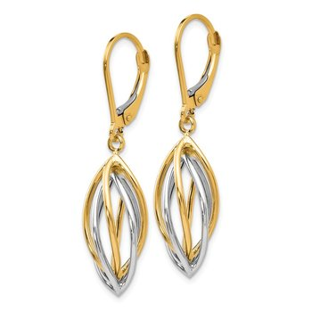 Leslie's 14K Two-tone Polished Leverback Earrings