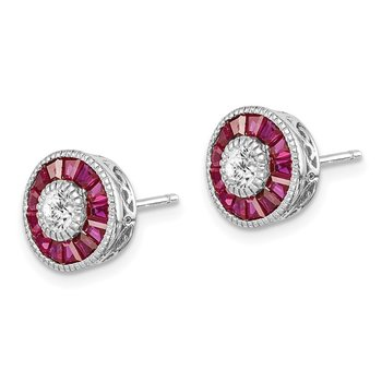 Sterling Silver Rhodium-plated CZ /Created Ruby Halo Post Earrings