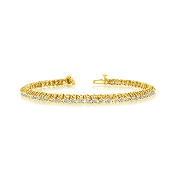 14k Yellow Gold 3Ct. Diamond 4-Prong Bracelet