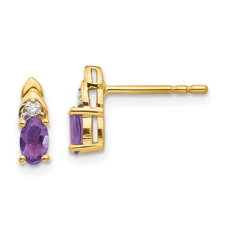 Quality Gold 14k Amethyst and Diamond Earrings