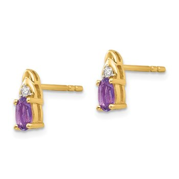 14k Amethyst and Diamond Earrings