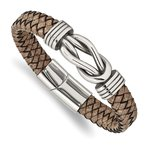 Chisel Stainless Steel Antiqued and Polished Tan Leather 8 inch Bracelet
