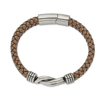 Stainless Steel Antiqued and Polished Tan Leather 8 inch Bracelet