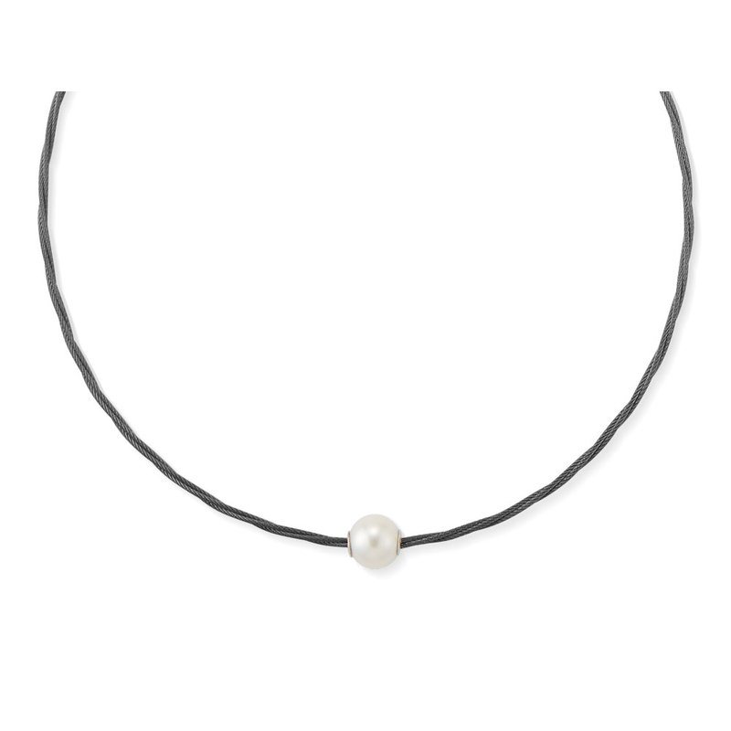 ALOR Black Cable Choker Necklace with Fresh Water Pearl