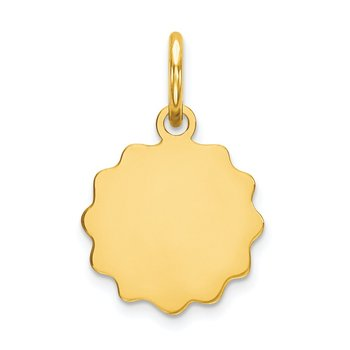 14k .009 Gauge Engravable Scalloped Disc Charm