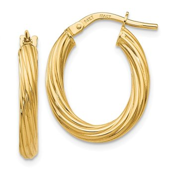 Leslie's 14k Polished Twisted Oval Hoop Earrings