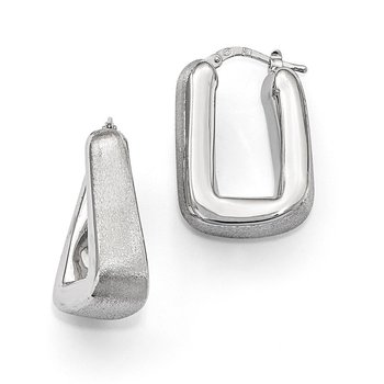 Leslie's Sterling Silver Polished & Satin Hoop Earrings
