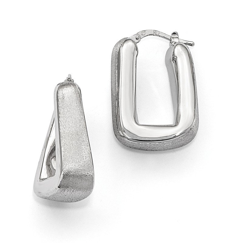 Leslie's Leslie's Sterling Silver Polished & Satin Hoop Earrings